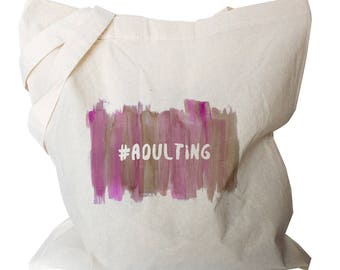 Funny Market Bags - Hashtag Adulting Tote - Grocery Canvas Bag - Funny Tote Bags - Grocery Bags - Funny Tote Bags - Pink Tote Bag