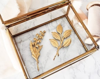Gold Lily of the Valley Floral Hair Pin | 1 Large Gold Hair Pin | Boho Nature Inspired Branch and Leaf Wedding Hair Accessories