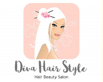 Diva Hair Style Character Illustrated Premade Logo design