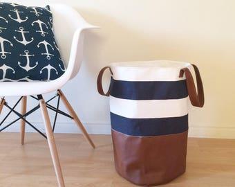 Panier de Rangement XL Marine et Blanc avec cuirette, panier à linge, rangement jouet, bac de stockage, rangement chambre d'enfant
