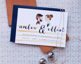 Custom Portrait Engagement Announcement & Party Invite, Save The Date | Watercolor