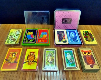 Vintage owl playing cards-old card lot