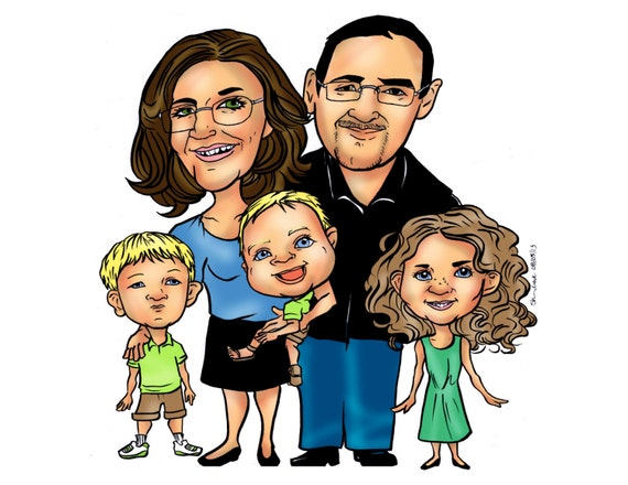 Toys For Family Reuion : Custom family cartoon caricature portrait personalized