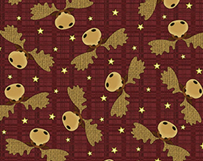 MOOSE on the LOOSE - Moose Heads in Cranberry Red - Cotton Quilt Fabric - Cheryl Haynes for Benartex Fabrics - 4301-88 (W4447)