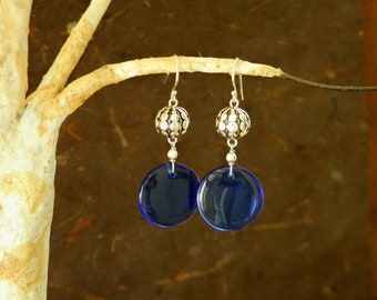Sterling Silver Sea Urchin and Blue Glass Dangle Earrings