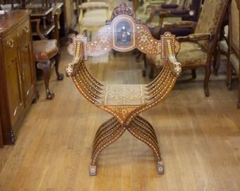 Spanish Walnut Bone Enlayed Arm Chair