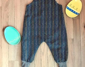 Reversible Stripe Romper / Harem Style Romper / Kids Spring Romper / Spotted Stripe Romper / Cross Print Romper / Toddler Romper / Size NB-6