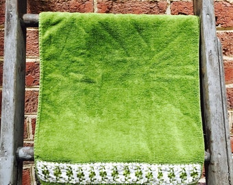 Vintage Green Terry Hand Towel