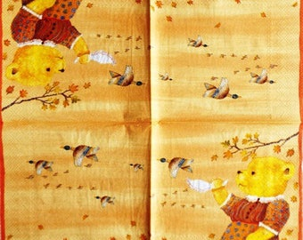 The teddy bear paper TOWEL and ducks #E026