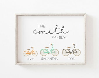 Personalised bike family print - a4 cycling print - family art