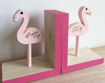 Flamingo Bookends, Children Bookends, Hot Pink Flamingo Room Decor, Tropical, Kids Pink Flamingo, Flamingo Baby, Pink Flamingo Nursery