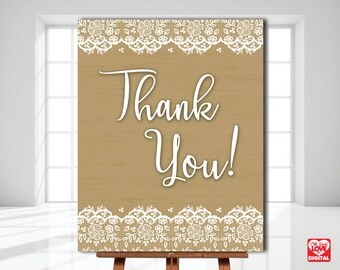 Burlap and Lace Wedding, Printable Thank you Sign, Lace and Burlap Bridal Shower Sign, Boho Decor, Rustic, 8x10, Instant Download, JPG