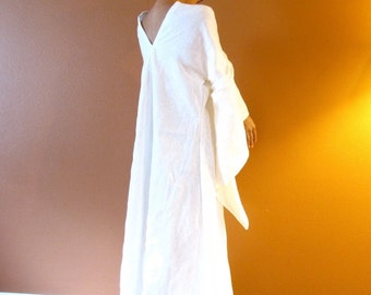 Reserved for A only white linen flying swallow dress  long length / deep V back / add sleeve length / with royal blue wide obi