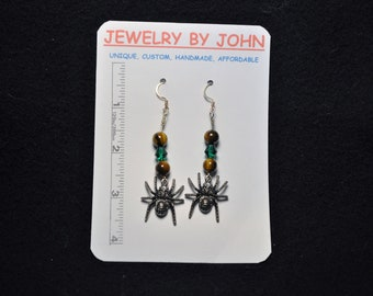 Halloween Spider Dangle Earrings with Tiger Eye and Emerald Beads on Ear Wires