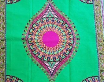Green and pink dashiki fabric