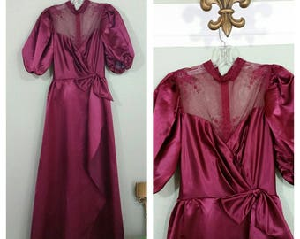 Vintage 70s/80s Prom Dress, Evening Gown, Victorian Style Dress, Burgundy, Small