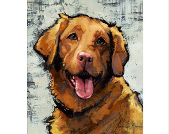 Dog Art - Matted Print of Original Custom Oil Painting - Puppies, Dogs, Puppy, Animal Lovers, Wall Art