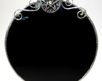 Scrying Mirror with Pentacle / Round Black Mirror Wall Decor / Pagan Wiccan Pentacle Magic Mirror / Witch Gazing Mirror Altar Ritual Tool