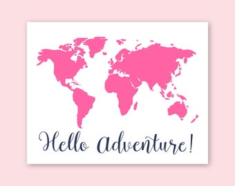 Baby Girl Nursery Decor Pink World Map Pink Navy Nursery Girl Nursery Decor Pink Map of the World Pink wall decor Girls room decor