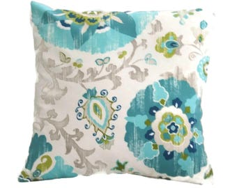 Indoor/Outdoor Pillow Cover, Turquoise, Blue And White In A Graceful Floral Print, Zipper Closure
