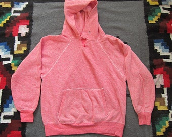 Small Red & White Check Sears Hooded Sweatshirt / Woven, Knit, Raglan Sleeve, Exterior Seams, Hoodie