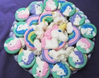 Unicorns and Rainbow chocolates candy tray
