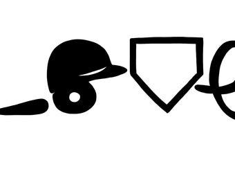 Baseball Love, Helmet, Bat, Home Plate SVG File, Drawn clipart, Cutting File, Cut File