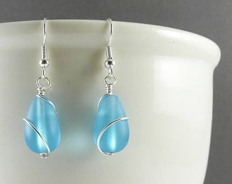 Blue sea glass earrings sea glass jewelry seaglass earrings seaglass jewelry handmade jewelry frosted glass wire wrapped bridesmaids jewelry