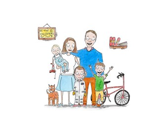 family scribble, family portrait, bepoke, personalised illustration, birthday,new home, teacher,wedding, pet drawing, unique cool gift