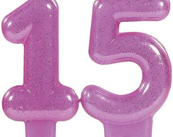 Glistening Pink Glitter 15th Birthday Candle Set - Quinceañera Birthday Party Celebration Cake Topper Candles