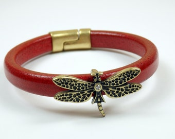 Distressed Red Licorice Leather Bracelet with Dragonfly and Swarovski Crystal