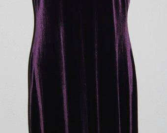 Vintage LAURA ASHLEY Long Lush Velvet Purple Short Sleeve Dress Size M / L Please Check Measurements