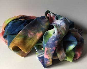 Wide Scarf, rayon, shawl, lime indigo and coral, scrunched, 20x70, WR6.3