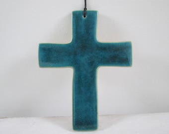 ceramic wall cross, turquoise cross, ceramic devotional, handmade devotional, decorative cross, wall cross, ceramic cross handmade