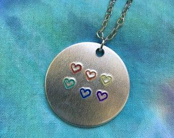 Pride Flag Heart Necklace - Gay Pride Necklace - LGBT Necklace - LGBT Jewelry -Lesbian Necklace - Rainbow Flag - Gay Pride Flag