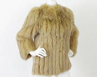 SALE 1970s Vintage Women's Genuine Butterscotch Fox Fur Glamorous Coat Sz M