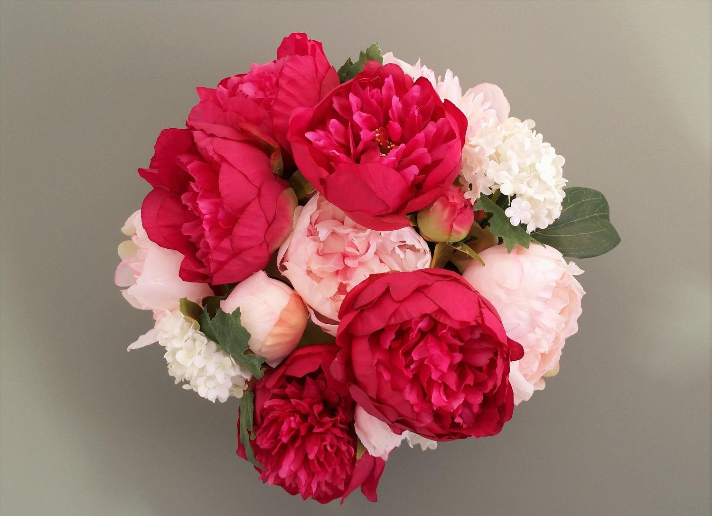 Pink Silk Peony Flowers Artificial Flower Arrangement Hot Pink