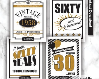 60th party sign, 60th birthday printable, 1958 sign
