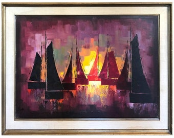 Mid Century Oil on Canvas of Sailboats