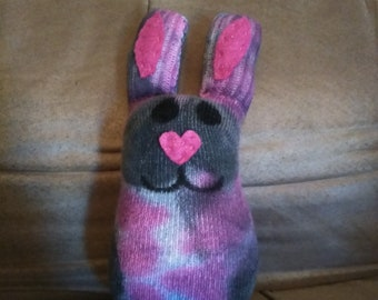 Unique, hand dyed, pink & gray Chubby bunny