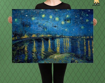 Star Wars Inspired Parody, A Starry Night for Tie Fighter over the Rhone, Imperial Might, Custom Raised Canvas Art Piece