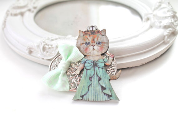 Hair Clip cat  green dress princess  kawaii  lolita accessory