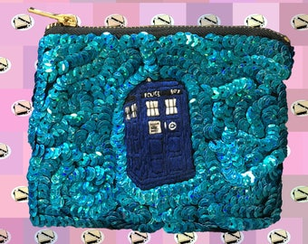 TARDIS Blue Sequin Purse