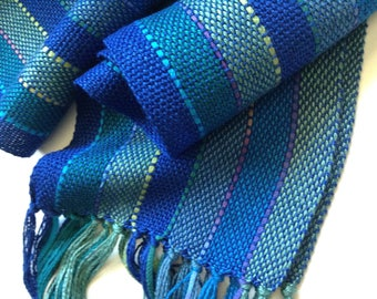 handwoven scarf bamboo and beautiful ocean blues