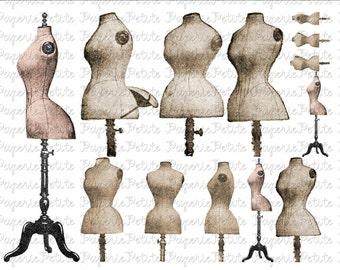 Vintage Dress Forms Digital Download Collage Sheet A