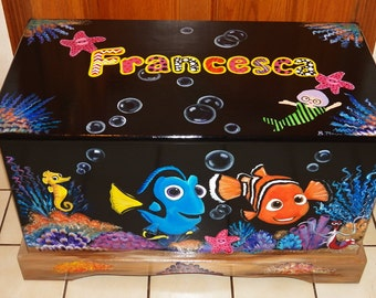 Custom Inspired Nemo, FriendsToy Box Personalized with Name on top, black background, kids furniture, hand made, hand painted wooden toy box
