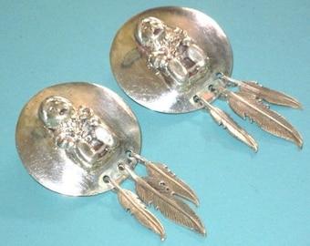 Vintage Pawn Sterling Silver 925 Storyteller Feather Dangle Earrings
