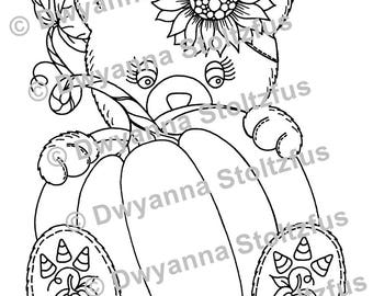 Teddy Bear with Pumpkin Coloring Page JPG