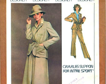 Simplicity 8650 Unlined Tie Waist Jacket, A-Line Skirt, Pants, Shirt by Designer Charles Suppon Sewing Pattern Size 12 Vintage 1970's UNCUT