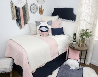 Solid Navy Dorm Bed Skirt & Headboard Bundle